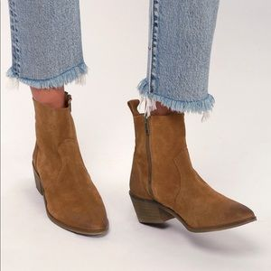 Lulu's Brown Suede Leather Ankle Boots NEW